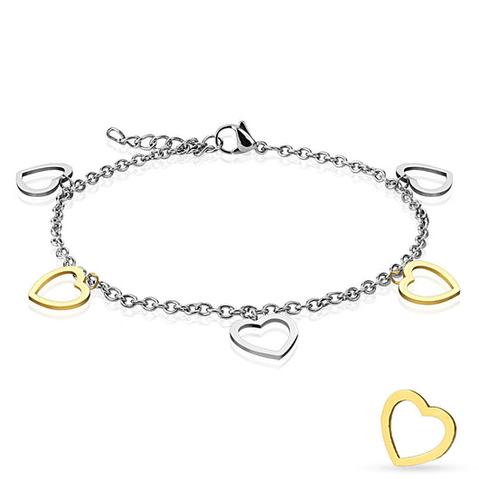 Gold and Silver Heart Charm Dangling Chain Anklet / Bracelet