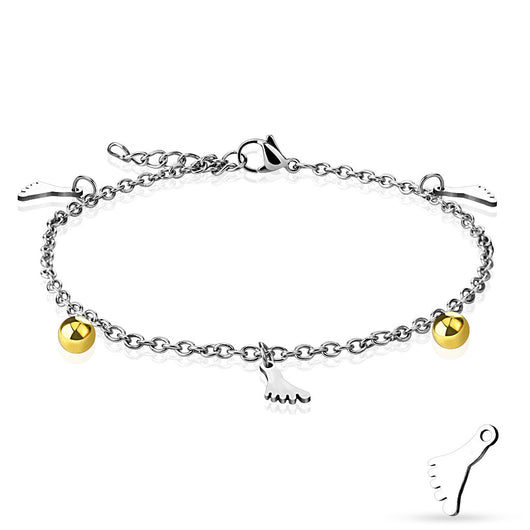 Gold and Silver Foot Charm And Ball Dangling Chain Anklet / Bracelet