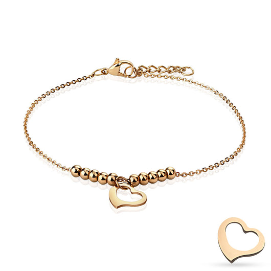 Heart and Multi Beads Chain Rose Gold Stainless Steel Charm Anklet/Bracelet