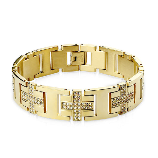 Gold IP over Stainless Steel Bracelet with Gem Paved Crosses