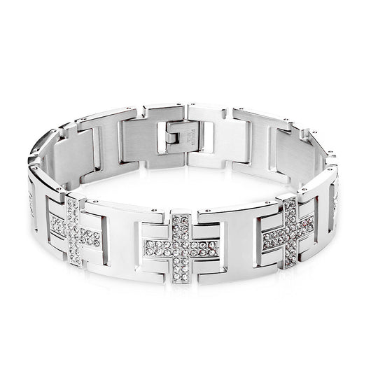 Stainless Steel Bracelet with Gem Paved Crosses