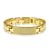 Gold IP Stainless Steel Bracelet with Gem Paved Plate