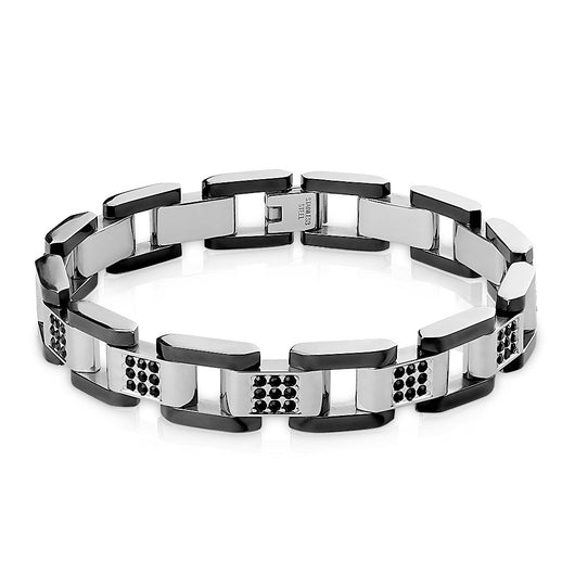 Black IP and Steel Two Tone Box Chain Bracelet with Paved CZ