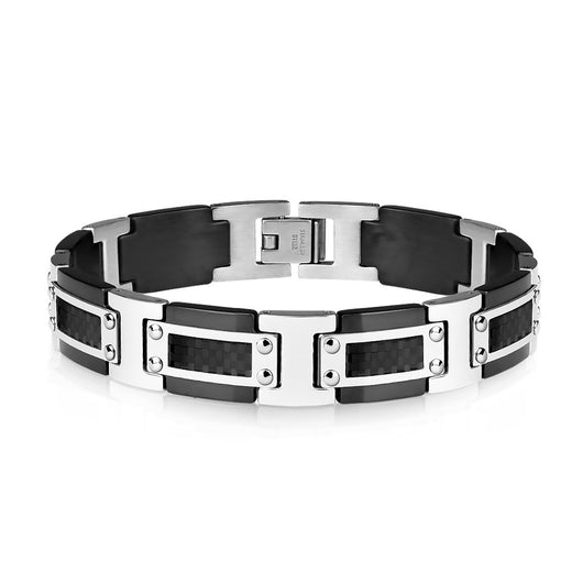 Black IP and Steel Two Tone Bracelet with Black Carbon Fiber Inlay