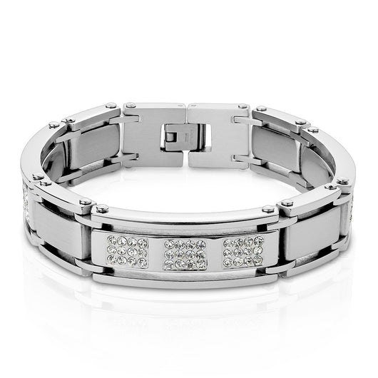 Crystal Paved Mens Stainless Steel Bracelets