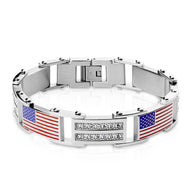 Double Lined CZ and USA Flag Linked Stainless Steel Bracelet