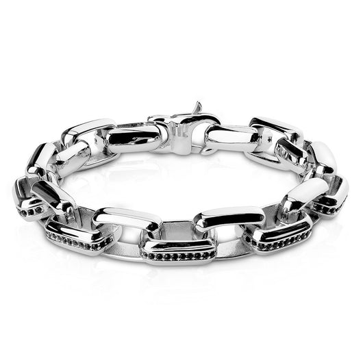 Black CZ Lined Box Links Stainless Steel Bracelet