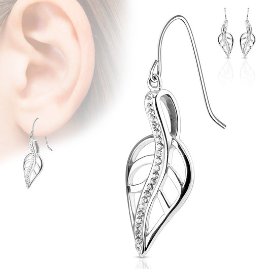 Pair of CZ Lined Leaf Stainless Steel Hook Earring Studs