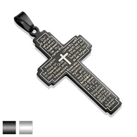 Lord's Prayer on Cross Stainless Steel Black IP Pendant