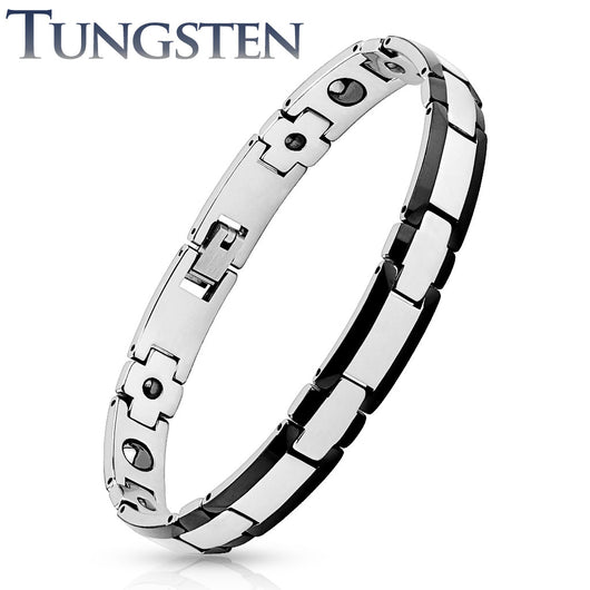 Rectangle Black Titanium Edge 2 Tone Tungsten Carbide Link Bracelets