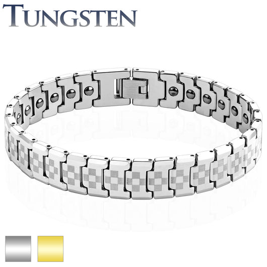 Laser Engraved Checker Links Tungsten  Carbide Bracelets