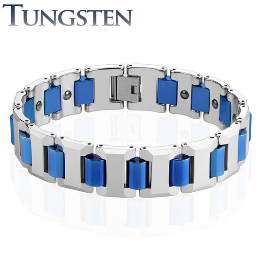 Heavy Width Blue IP Links Tungsten Carbide Chain Bracelet