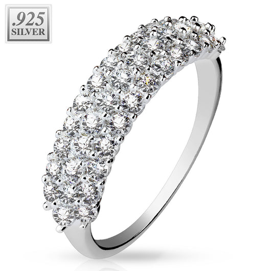 Triple Lined CZ .925 Sterling Silver Ring with Authentic Rodium Finish