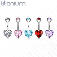 8 mm Prong Set Heart CZ Implant Grade Solid Titanium Belly Button Rings
