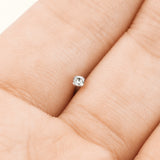 Prong Set 2 mm CZ Titanium Fishtail Nose Bone Stud Ring