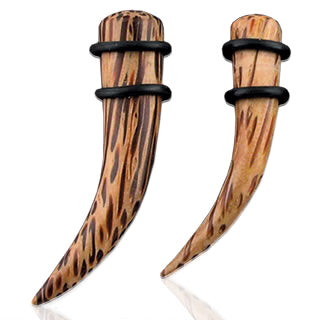 Curved Organic Natural Coco Wood Ear Taper Ear Plugs