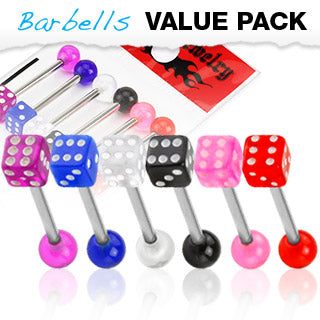 Value Pack 6 Pcs Surgical Steel Tongue Rings with Acrylic Dice