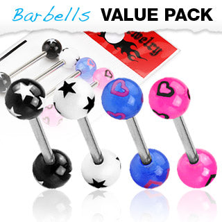 Value Pack 4 Pcs Surgical Steel Tongue Rings Stars Hearts Balls