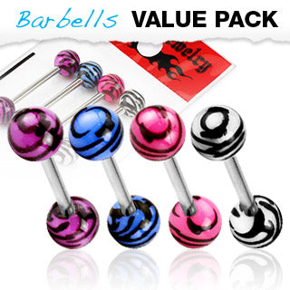 Value Pack 4 Pcs Surgical Steel Tongue Rings Tiger Print Balls