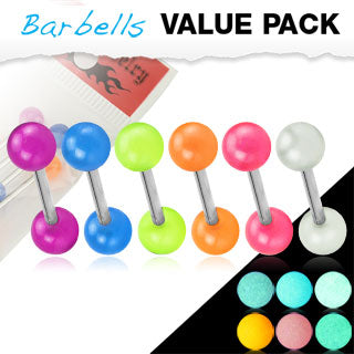 Value Pack 6 Pcs Tongue Rings with Glow In The Dark Balls