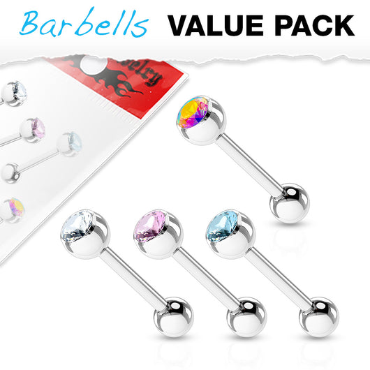 Value Pack 4 Pcs Surgical Steel Barbell Tongue Rings with CZ Balls