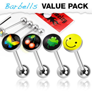 Value Pack 4 Pcs Surgical Steel Barbell Tongue Rings with Logo Balls