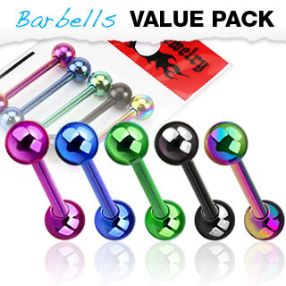 Value Pack 5 Pcs Titanium IP Over Surgical Steel Barbell Tongue Rings