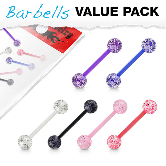 Value Pack 6 Pcs Bio Flex Tongue Ring Glitter Balls