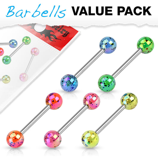 Value Pack 5 Pcs Metalic Splatter Coated Balls Barbell Tongue Rings