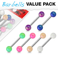 6 Pcs Value Pack Matte Pearlish Ball Surgical Steel Tongue Barbell Nipple Rings