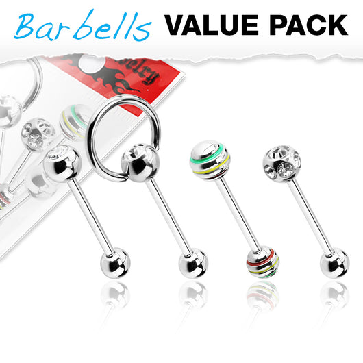 Pack Of 4 Pcs Assorted CZ Surgical Steel Barbell Tongue Rings