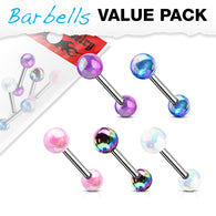 5 Pcs Value Pack Metallic AB Coating Surgical Steel Barbell Tongue Rings