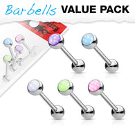 5 Pcs Value Pack Illuminating Stone Surgical Steel Barbell Tongue Rings