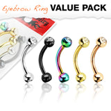 Titanium IP CZ Balls Surgical Steel Eyebrow Curve Ring Pack