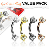 CZ Internal Threaded Surgical Steel Eyebrow Curve Ring Pack