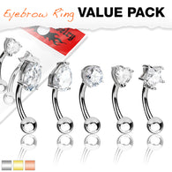 5 Pc Assorted CZ Shape Rose Gold Surgical Steel Eyebrow Curve Ring Pack