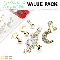 5 Pc Mix Value Pack Star Moon CZ Ear Cartilage Tragus Triple Helix Barbell Studs