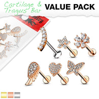 6 Pc Mix Value Pack Assorted CZ Labret Studs Ear Cartilage Tragus Helix