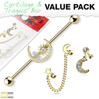 3 Pc Value Pack Star Moon  CZ Industrial Barbell Ear Cartilage Tragus  Helix Barbell Studs
