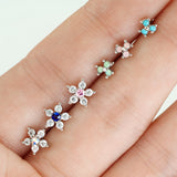 6 Pc 20G Opal CZ Flower Surgical Steel L Bend Nose Stud Rings Box