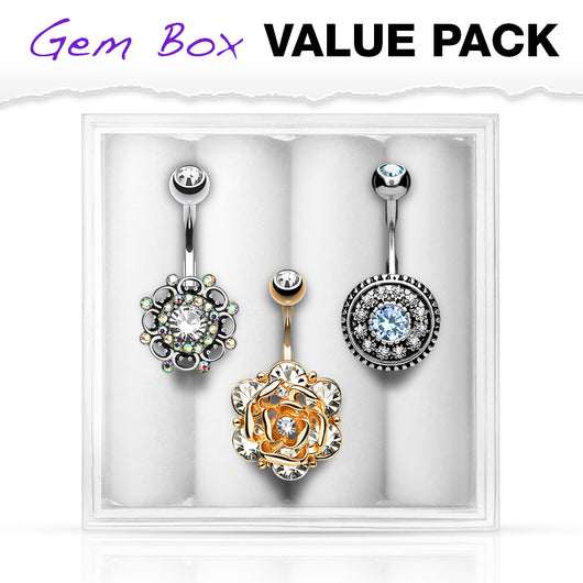 3 Pc Box Package Assort CZ Navel Belly Button Rings