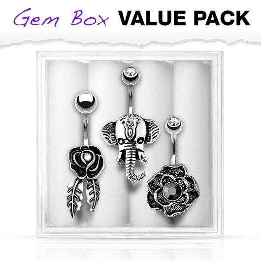 3 Pc Box Package Assorted Design Navel Belly Button Rings