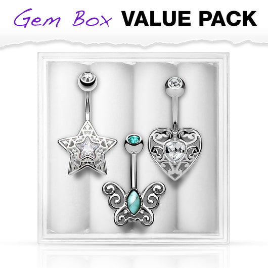 3 Pc Box Package Heart Star Butterfly Navel Belly Button Rings