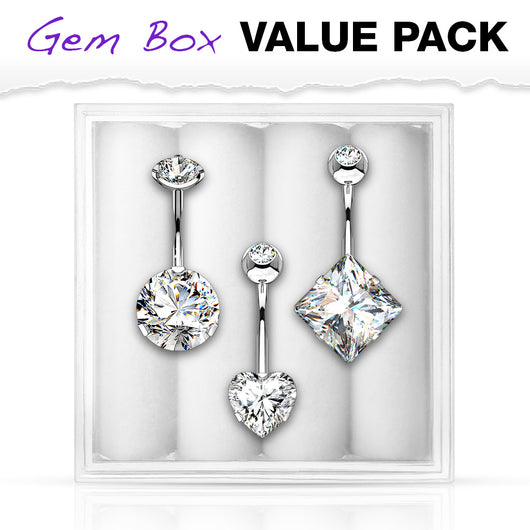 3 Pc Box Package CZ Navel Belly Button Ring
