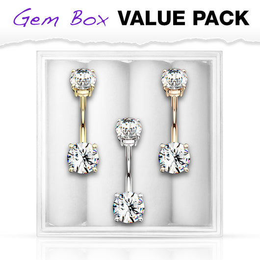 3 Pc Box Package 14K Gold Plated CZ Navel Belly Button Ring