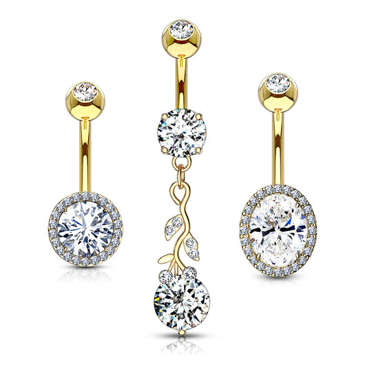 3 Pc Box Package 14K Gold Plated CZ Assorted Navel Belly Button Ring