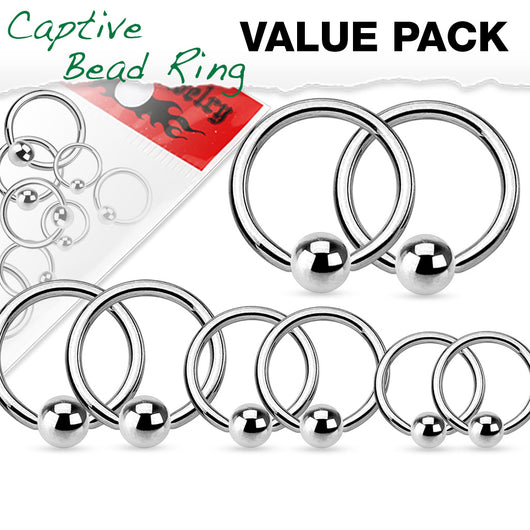 4 Pairs Mixed Sz 316L Surgical Steel Captive Bead Rings Helix Tragus