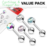 Value Pack 4 Pcs 4mm CZ  Ball Cartilage Tragus Helix Barbell Studs