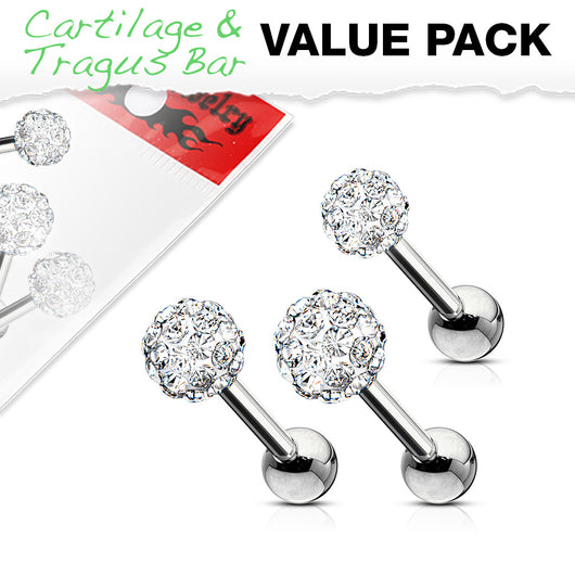 Value Pack 3 Pcs 3mm 4mm 5mm Ferido Ball Cartilage Triple Tragus Helix Barbell Studs