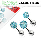 Value Pack 3 Pcs 3mm 4mm 5mm Aqua Ferido Ball Cartilage Tragus Helix Barbell Studs